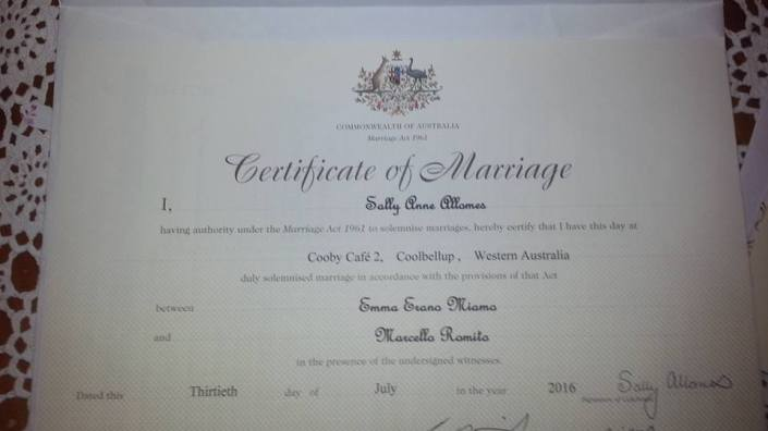 Certificate of marriage Marchello and Emma